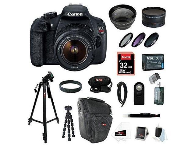 Canon EOS Rebel T5 DSLR Camera with EF-S 18-55mm IS II Lens + 32GB Memory Card + Extra Battery Pack + Deluxe Accessory Kit