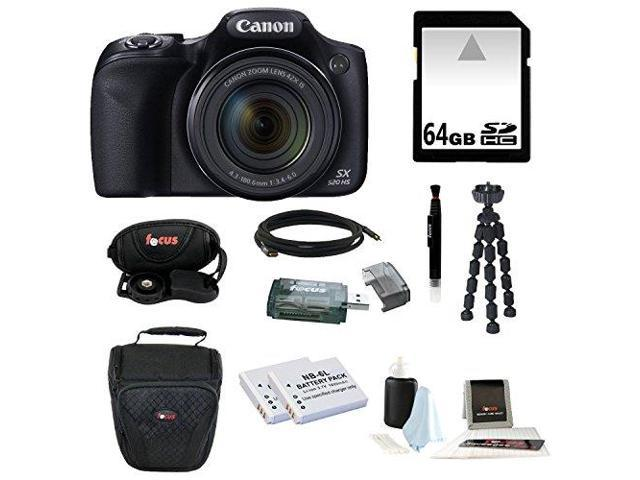 Canon Powershot SX520 HS 16.0 MP Digital Camera with 42x Optical Zoom and 1080p Full HD Video with 64GB Deluxe Accessory Kit