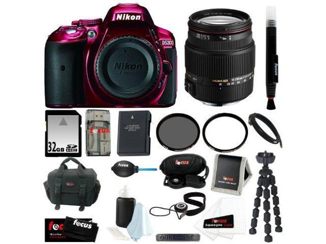 Nikon D5300 24.2 MP CMOS Digital SLR Camera Body Only (Red) + Sigma 18-200mm F3.5-6.3 Lens for Nikon + 32GB SDHC Card + Replacement EN-EL14 ...