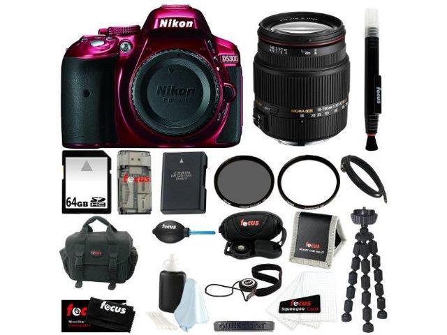 Nikon D5300 24.2 MP CMOS Digital SLR Camera with Built-in Wi-Fi and GPS Body Only (Red) + Sigma 18-200mm F3.5-6.3 Lens for Nikon + 64GB ...