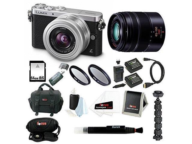 Panasonic LUMIX DMC-GM1KS Compact System Camera with 12-32mm Lens and G Series 45-150 Lens + Sony 64GB SDHC + 2 UV Filters + Focus Card ...