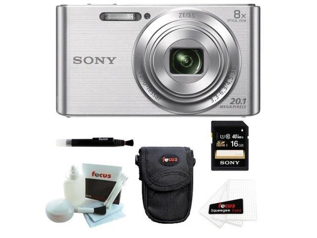 Sony W830 DSCW830 DSCW830 20.1 Digital Camera with 2.7-Inch LCD (Silver) + Sony Flip Style Case Black + Sony 16GB SDHC/SDXC Memory Card + Focus ...