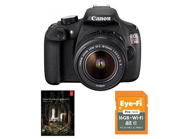 Canon EOS Rebel T5 DSLR Camera with EF-S 18-55mm IS II Lens plus Eye-Fi 16GB SDHC Class 10 Wireless Flash Memory Card and Adobe Photoshop ...