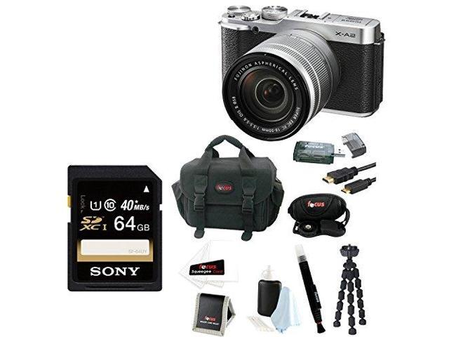 Fujifilm X-A2 Mirrorless Digital Camera with 16-50mm Lens (Silver) + Sony 64GB SDHC/SDXC Memory Card + Focus DSLR Camera Accessory Kit with Mini ...