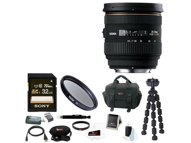 Sigma 24-70mm f/2.8 IF EX DG HSM Autofocus Lens for Canon EOS Bundle