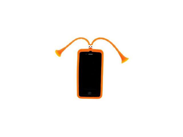 HJX Cartoon Mr Grasshopper Silicone Skin Long Ear Suction Stand - iPhone 4 4S - Orange