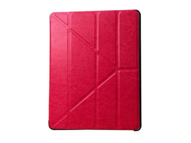 HJX Red iPad Air Luxury Carzy Horse Grain Flip PU Leather Fold Stand Case Protective Cover for Apple iPad Air/iPad 5