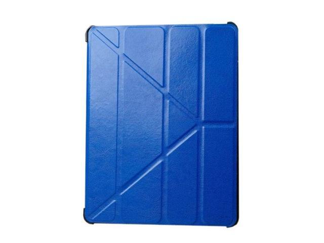 HJX Dark Blue iPad Air Luxury Carzy Horse Grain Flip PU Leather Fold Stand Case Protective Cover for Apple iPad Air/iPad 5