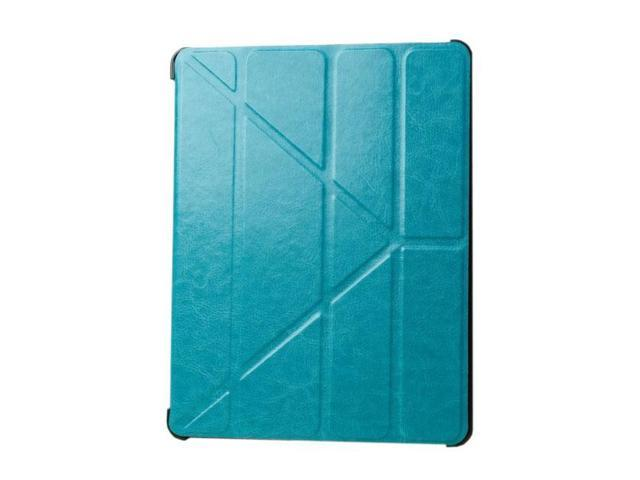 HJX Sky Blue iPad Air Luxury Carzy Horse Grain Flip PU Leather Fold Stand Case Protective Cover for Apple iPad Air/iPad 5
