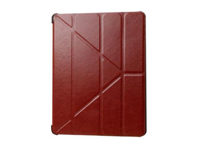 HJX Brown iPad Air Luxury Carzy Horse Grain Flip PU Leather Fold Stand Case Protective Cover for Apple iPad Air/iPad 5