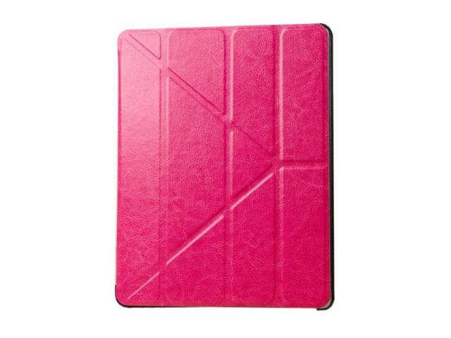 HJX Hot Pink iPad Air Luxury Carzy Horse Grain Flip PU Leather Fold Stand Case Protective Cover for Apple iPad Air/iPad 5
