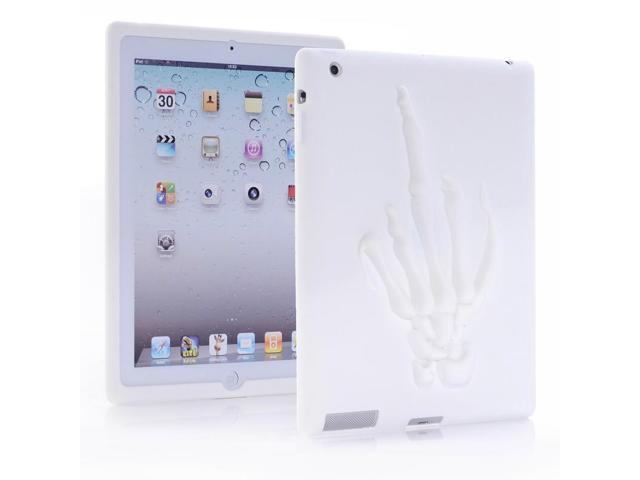 HJX White 2/3/4 New Funny Skull Hand Pattern Soft Silicone Rubber Case Protective Cover for Apple iPad 2/3/4