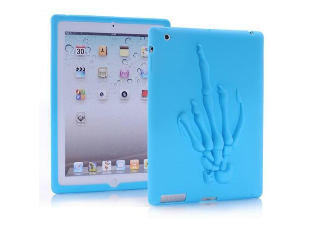HJX Blue 2/3/4 New Funny Skull Hand Pattern Soft Silicone Rubber Case Protective Cover for Apple iPad 2/3/4