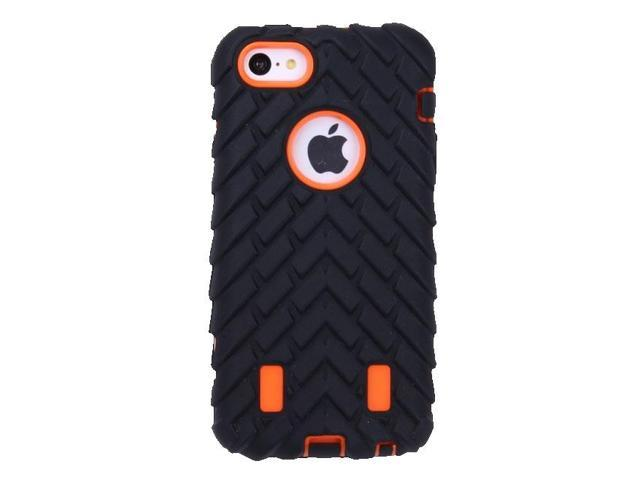HJX Orange/Black 5C Curte Deformable Robot Defender Case Silicone Cover And Hard Case Protector for Apple iPhone 5C