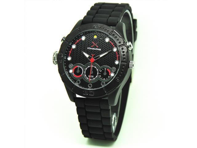 Flylink FUll HD 8GB Men's Luxury Black Strap Night Vision HD Camera Watch Camcorder Infrared SCS101929