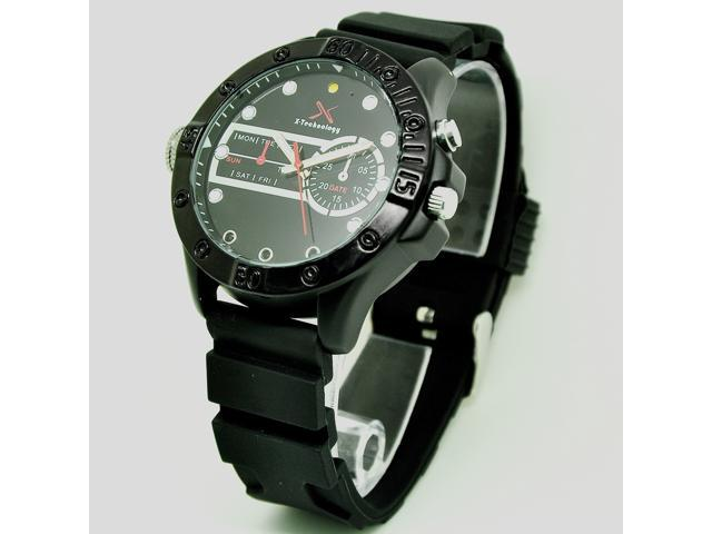 Flylink FUll HD 8GB Men's Luxury Black Strap Night Vision HD Camera Watch Camcorder Infrared SCS101928