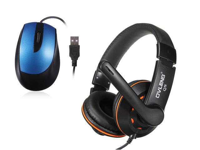 USB Wired Optical Scroll Wheel 3D Mice Mouse For Laptop PC + OVLENG OV-Q5 USB 2.0 Stereo Headphone Headset with Mic