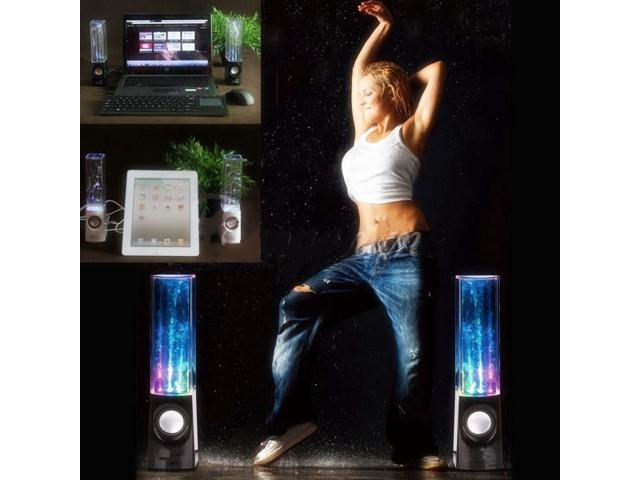 2X Dancing Water Speaker Music Fountain LED Light Speakers For iPhone iPad Galaxy Laptop Black