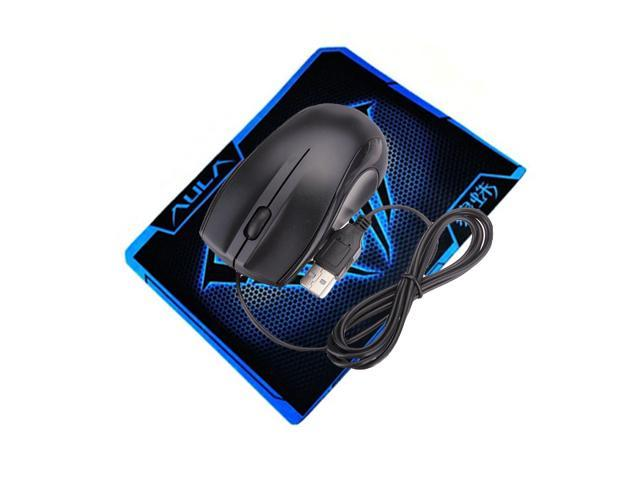 Black USB 2.0 3D Optical Scroll Wheel Mice Mouse For PC Laptop Notebook Computer + AULA Waterproof Cool Mouse Pad mat