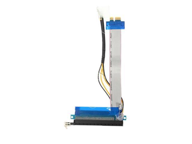 2x PCI-E 1X To 16X Powered PCI Express Socket Riser Extension Extender Cable Adapter Molex