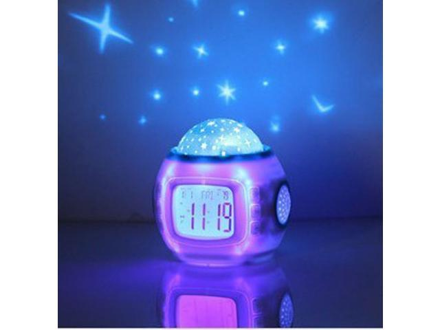 Perfect Gift Colorful Digital Music LED Sky Projection Alarm Clock Home Office