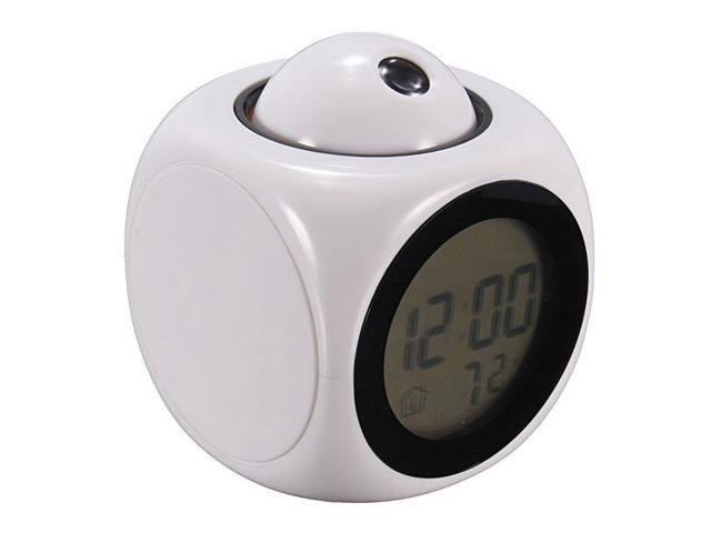 Multi-Function LCD Voice Talking LED Projection Alarm Clock Temp & Temp Display Black/White