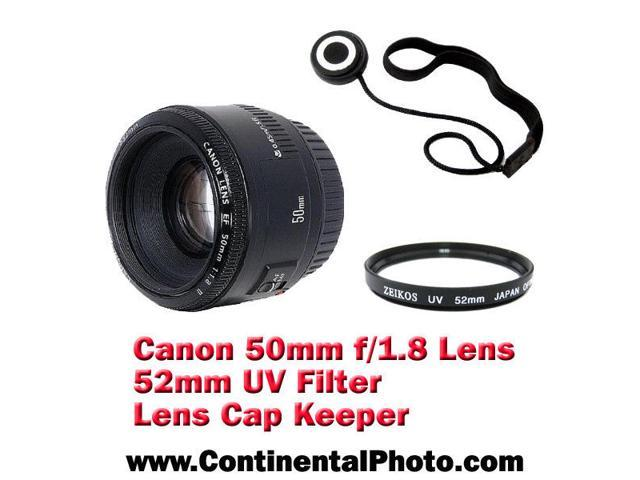 Canon EF 50mm f/1.8 ll Autofocus Lens with 52 UV Filter and Lens Cap Keeper