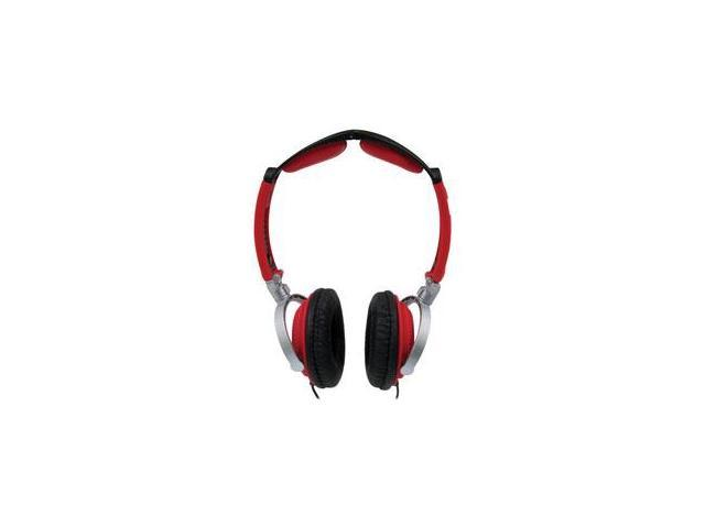 MobileSpec MS60R Lightweight Folding Stereo Headphones Red- Black