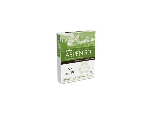 ASPEN 50% Recycled Office Paper, 92 Bright, 20lb, 8-1/2 x 11, White, 5