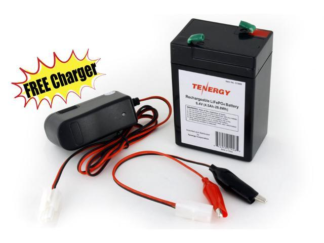 Tenergy 6.4V 4.5Ah LiFePO4 Rechargeable Battery + FREE 6.4V 1A LiFePO4 Charger (#01369)