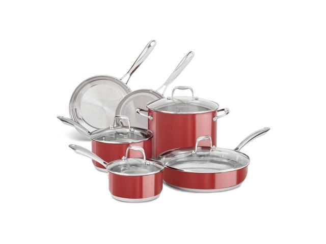 KitchenAid Stainless Steel 10-Piece Cookware Pots and Pans Set KCSS10ER Red