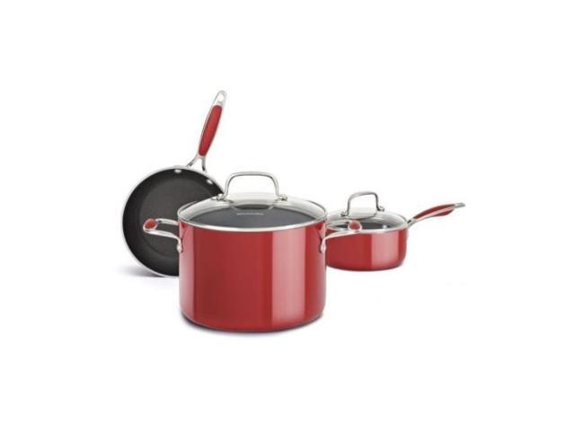 New KitchenAid Aluminum Nonstick 5-Piece Cookware Pots & Pans Set KCAS05AER Red
