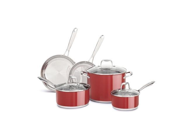 New KitchenAid Stainless Steel 8-Piece Cookware Pots & Pans Set KCSS08ER Red
