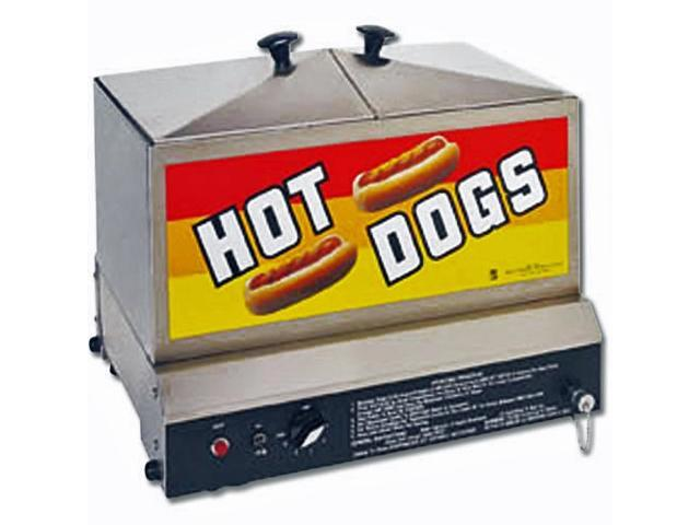Hot Dog Steamer - Commercial Stainless Steel with Tray