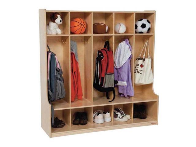 Kid's Play Five Section Seat Locker (Natural)