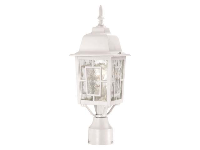 One Light - Outdoor Post Mount - White Finish with Clear Water Glass
