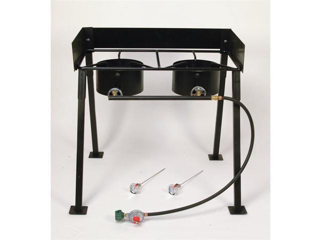 Heavy Duty Black Portable Propane Double Burner Outdoor Cooker