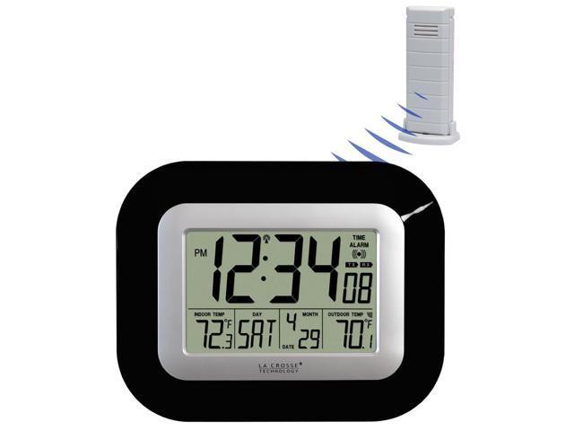 Atomic Digital Wall or Desk Clock (Black)