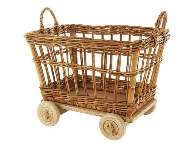 Large Rolling Mini Rattan Basket Cart in Natural