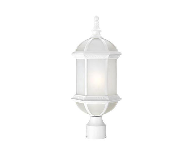 One Light - Outdoor Post Mount - White Finish with Frosted Beveled Glass