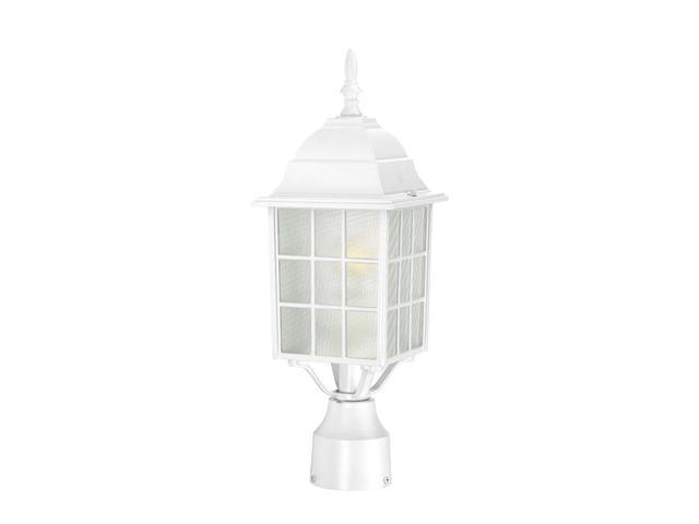 One Light - Outdoor Post Mount - White Finish with Frosted Glass