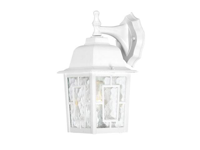 One Light - Outdoor Wall Sconce - White Finish with Clear Water Glass