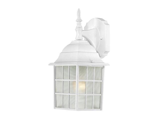 One Light - Outdoor Wall Sconce - White Finish with Frosted Glass