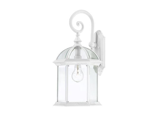 One Light - Outdoor Wall Sconce - White Finish with Clear Beveled Glass