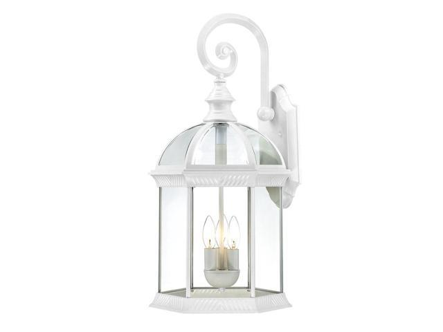 Three Light - Outdoor Wall Sconce - White Finish with Clear Beveled Glass