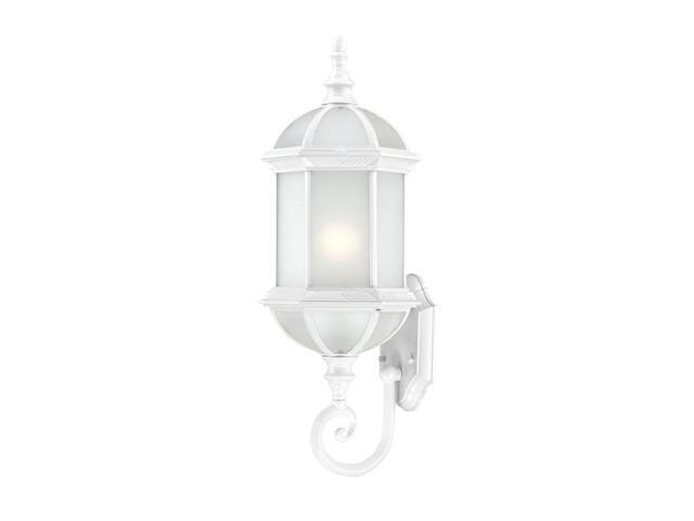 One Light - Outdoor Wall Sconce - White Finish with Frosted Beveled Glass