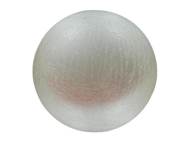 Small White Crackled Glass Ball w LED Lights