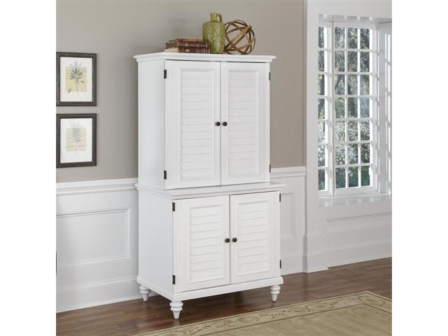 Brushed White Compact Computer Cabinet and Hutch