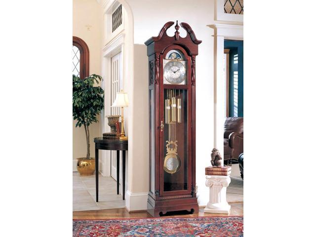 Ridgeway 18th Century Inspired All Wood Grandfather Clock w Swan Pediment Crown