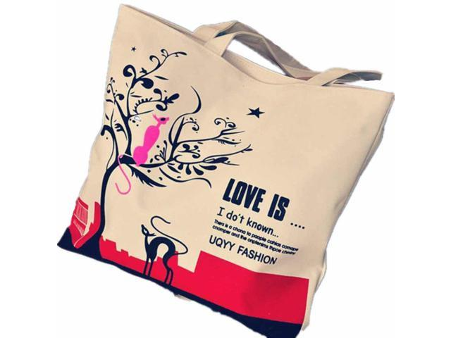 Women Canvas Casual Shoulder Bag Shopping Bag Multi-Use Bags Red